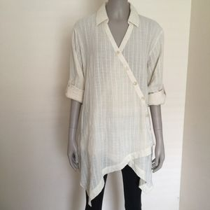 Soft Surroundings asymmetrical gauze tunic NWOT